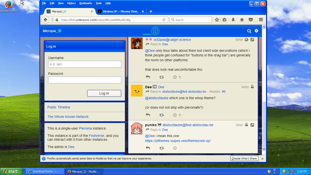 Pleroma XP theme inside Firefox inside XP