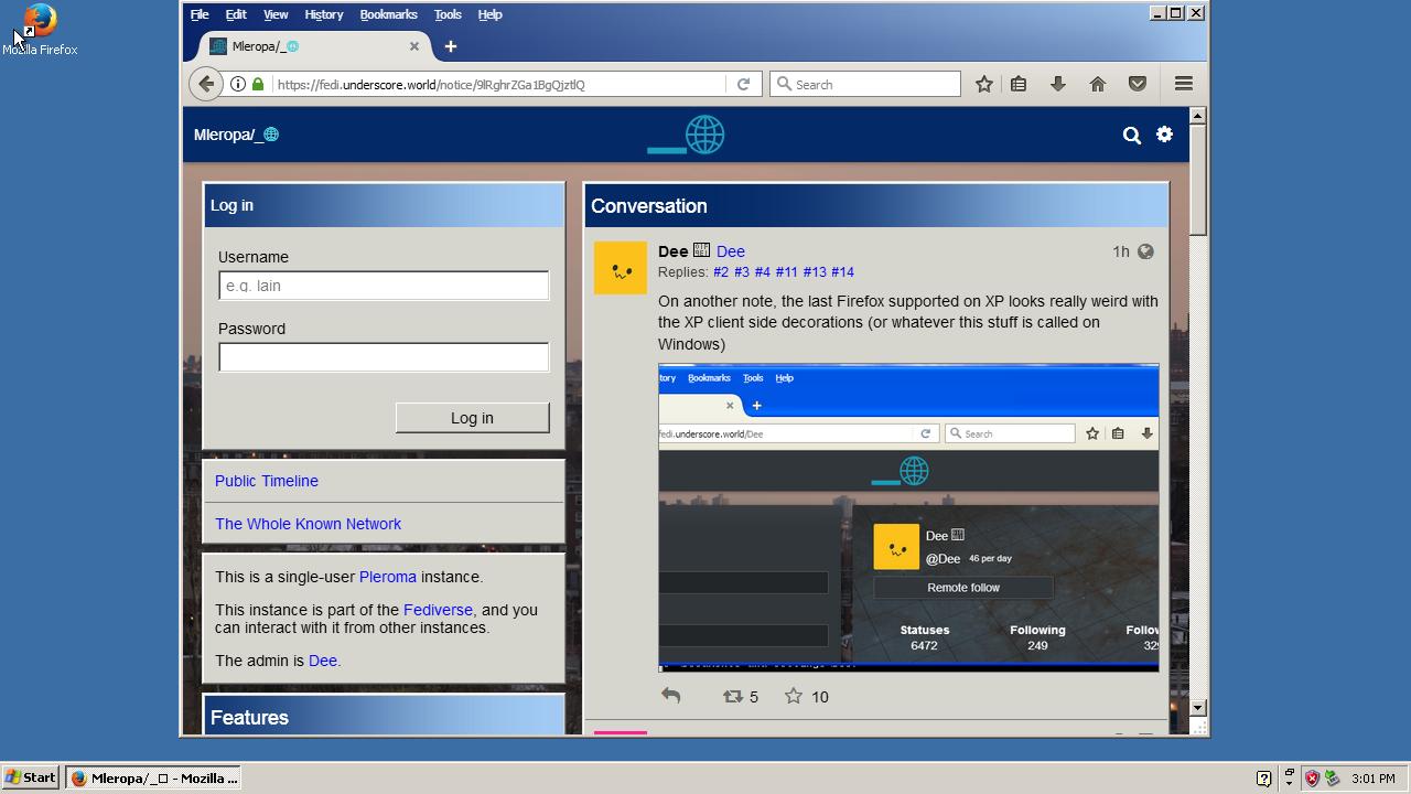 Windows XP set to classic theme, with Firefox displaying Pleroma set to the corresponding Pleroma theme