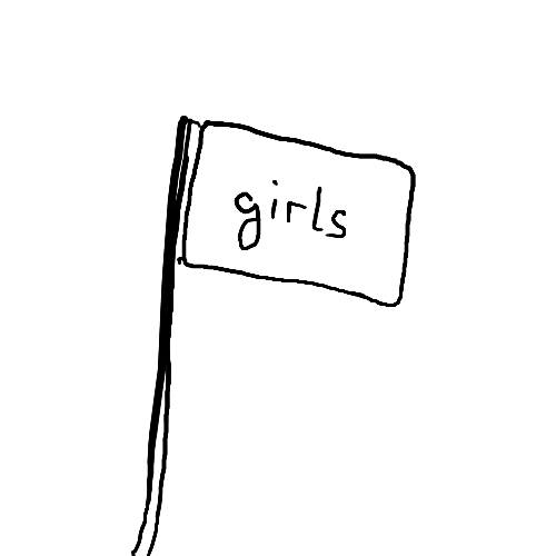 """A white flag that says """"girls"""" on it"""
